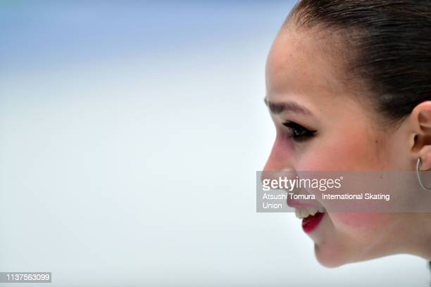 AlinaZagitova of Russia smiles after competing in the Ladies Free Skating on day three of the 2019 ISU World Figure Skating Championships at Saitama...