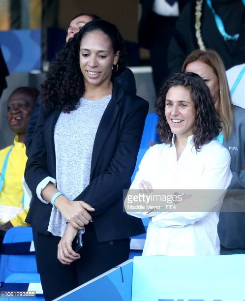Aline and Veronica Boquete in the stands before the Group A match between Uruguay and Ghana during the FIFA U17 Women's World Cup Uruguay 2018 at...
