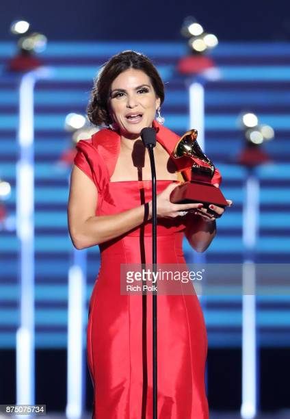 Aline Barros accepts Best Christian Album in the Portuguese Language for 'Acenda A Sua Luz' onstage at the Premiere Ceremony during the 18th Annual...