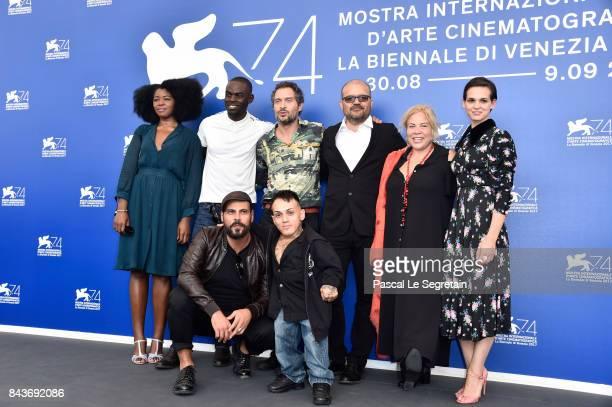 Aline Belibi, Narcisse Mame, Marco D'Amore, Claudio Santamaria, Simoncino, Cosimo Gomez, guest and Sara Serraiocco attend the 'Brutti E Cattivi'...