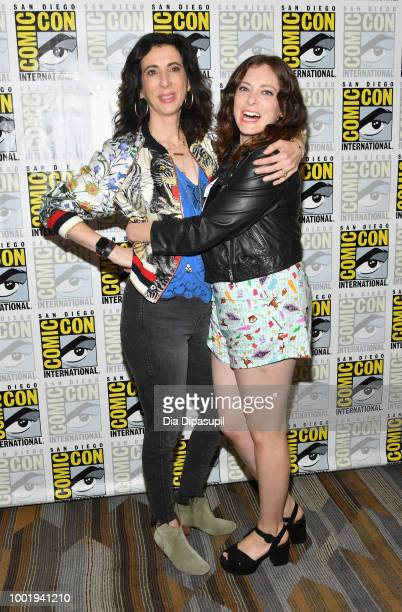 Aline Brosh McKenna and Rachel Bloom of 'Crazy Ex-Girlfriend' attend CBS Television Studios Press Line during Comic-Con International 2018 at Hilton...
