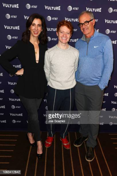 Aline Brosh McKenna, Brendan Scannell and David Frankel attend 'The Good Place Writers Panel' during Vulture Festival Presented By AT&T at Hollywood...