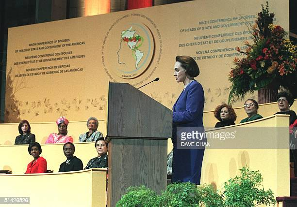 Aline Chretien, wife of Canadian Prime Minister Jean Chretien, delivers her speech at the opening of the Ninth Conference of Spouses of Heads of...