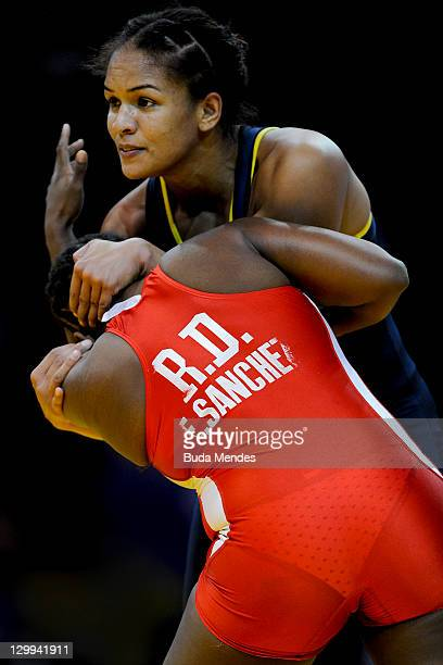 Aline Ferreira of Brazil fights against Elsa A Sanchez of Dominican Republic in the Women's Freestyle 72kg during the Pan American Games Guadalajara...