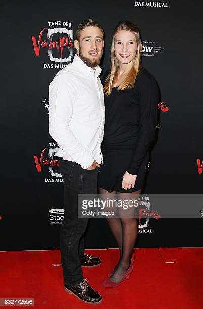 Aline Focken and Jan Rotter attend the red carpet at the premiere of the musical 'Tanz der Vampire' at Stage Palladium Theater on January 26 2017 in...