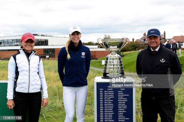Aline Krauter of Germany and Annabell Fuller of England pose with the trophy and the starter on the 1st tee prior to the Final on Day Five of The...