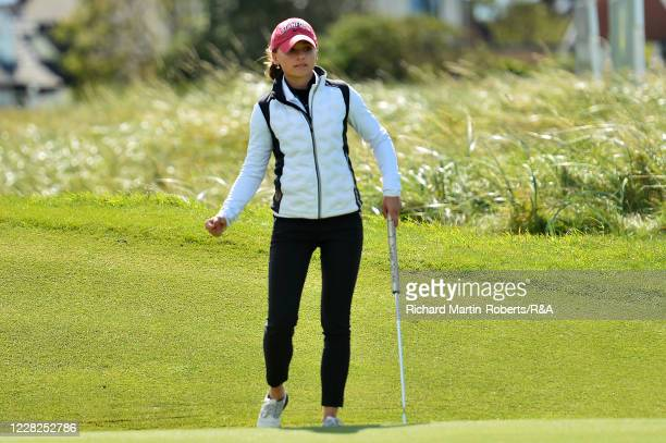 Aline Krauter of Germany celebrates holing a putt on the 9th hole during the Final on Day Five of The Women's Amateur Championship at The West...