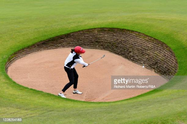 Aline Krauter of Germany hits a bunker shot on the 17th hole during the Final on Day Five of The Women's Amateur Championship at The West Lancashire...