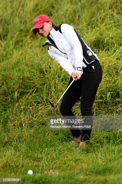 Aline Krauter of Germany hits an approach shot during the Final on Day Five of The Women's Amateur Championship at The West Lancashire Golf Club on...