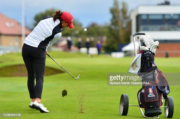Aline Krauter of Germany hits her approach shot to the 18th green during the Final on Day Five of The Women's Amateur Championship at The West...