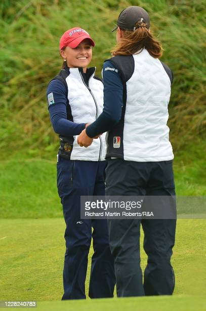 Aline Krauter of Germany is congratulated by Paula SchulzHanssen of Germany after her victory during the Quarter Finals on Day Four of The Women's...