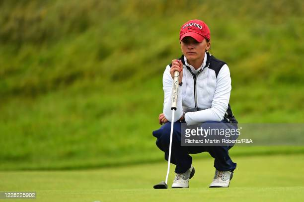 Aline Krauter of Germany lines up a putt during Round 2 of Matchplay on Day Three of The Women's Amateur Championship at The West Lancashire Golf...