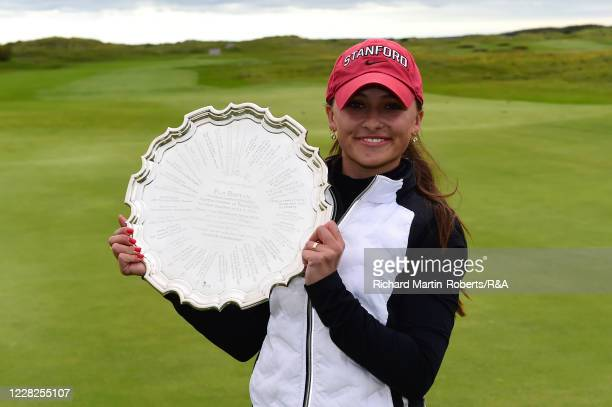 Aline Krauter of Germany poses with the Pam Barton salver following her victory during the Final on Day Five of The Women's Amateur Championship at...