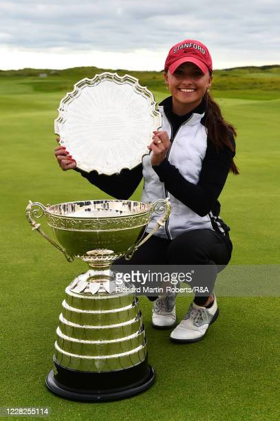 Aline Krauter of Germany poses with the trophies following her victory during the Final on Day Five of The Women's Amateur Championship at The West...