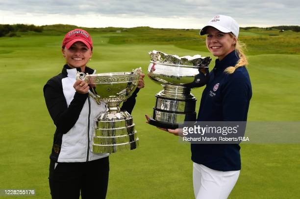 Aline Krauter of Germany poses with the trophy and runner up Annabell Fuller of England following her victory during the Final on Day Five of The...