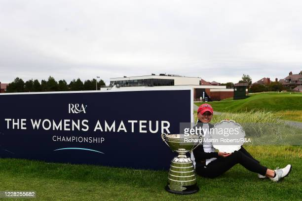 Aline Krauter of Germany poses with the trophy following her victory during the Final on Day Five of The Women's Amateur Championship at The West...