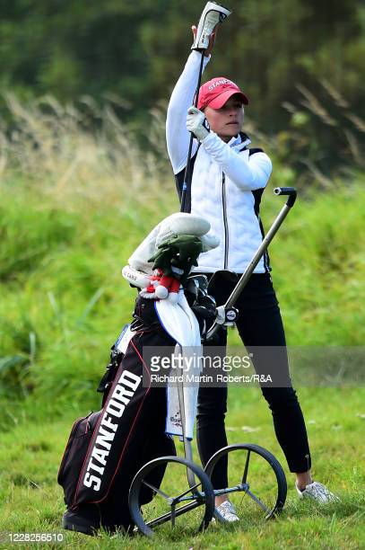 Aline Krauter of Germany selects a club during the Final on Day Five of The Women's Amateur Championship at The West Lancashire Golf Club on August...