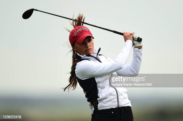 Aline Krauter of Germany tees off during Round 1 of Matchplay on Day Three of The Women's Amateur Championship at The West Lancashire Golf Club on...