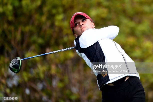 Aline Krauter of Germany tees off during the Final on Day Five of The Women's Amateur Championship at The West Lancashire Golf Club on August 29 2020...