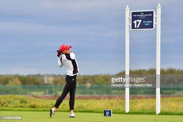 Aline Krauter of Germany tees off on the 17th hole during the Final on Day Five of The Women's Amateur Championship at The West Lancashire Golf Club...