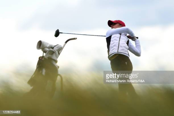 Aline Krauter of Germany tees off on the 18th hole during the Final on Day Five of The Women's Amateur Championship at The West Lancashire Golf Club...