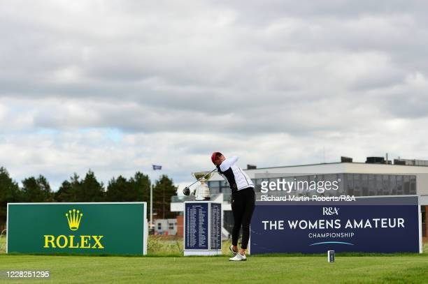 Aline Krauter of Germany tees off on the 1st hole during the Final on Day Five of The Women's Amateur Championship at The West Lancashire Golf Club...