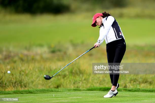 Aline Krauter of Germany tees off on the 8th hole during the Final on Day Five of The Women's Amateur Championship at The West Lancashire Golf Club...