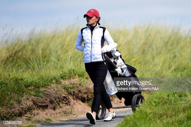 Aline Krauter of Germany walks to the 9th hole during the Final on Day Five of The Women's Amateur Championship at The West Lancashire Golf Club on...