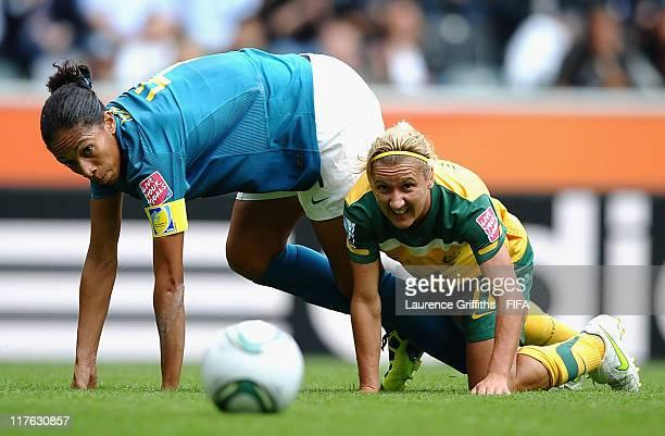 Aline of Brazil battles with Lisa De Vanna of Australia during the FIFA Women's World Cup 2011 Group D match between Brazil and Australia at Borussia...