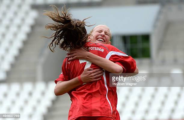 Aline Reinkober of Potsdam celebrates after scoring her teams opening goal during the girls bjunior semi final match between SGS Essen and 1FFC...