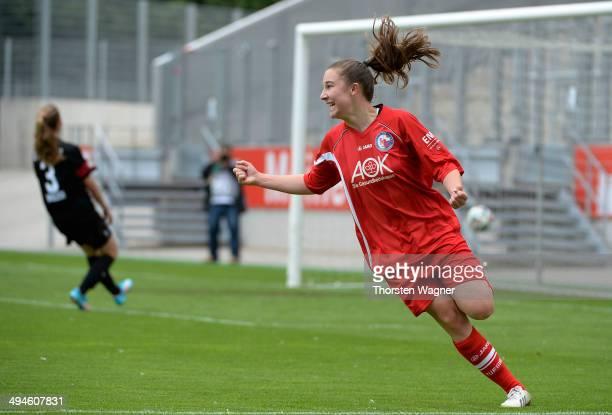 Aline Reinkober of Potsdam celebrates after scoring her teams opening goal during the girls bjunior semi final match between SGS Essen and 1FFC...