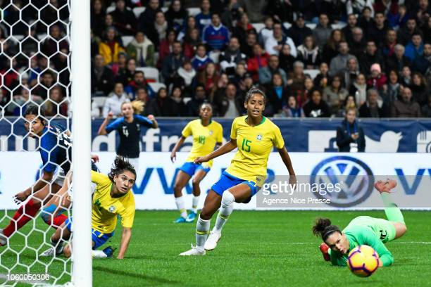 Aline Reis and Tayla Santos of Brasil during the International Women match between France and Brazil at Allianz Riviera Stadium on November 10 2018...