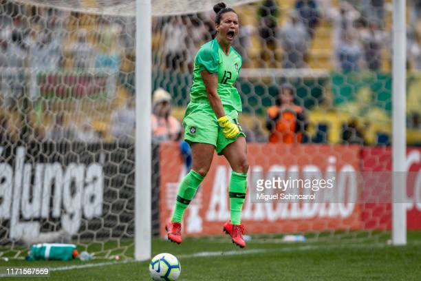 Aline Reis goalkeeper of Brazil celebrates after defend a penalty shot during a match between Brazil and Chile for the final match of Uber...