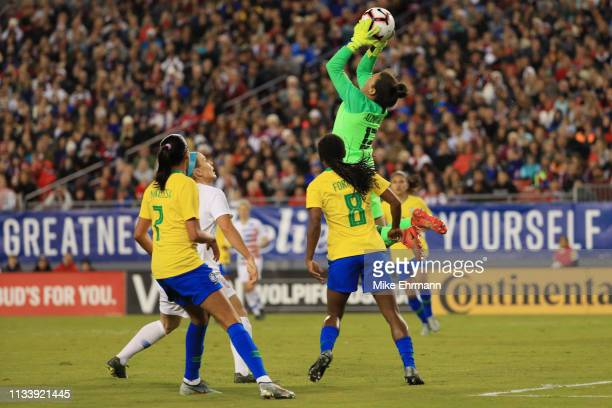 Aline Reis of Brazil gets a save in the first half against the USA during the She Believes Cup at Raymond James Stadium on March 05 2019 in Tampa...
