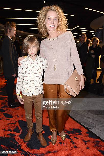 Aline von Drateln and her son David von Drateln attend the NatGeo Series 'Mars' Premiere on November 3 2016 in Berlin Germany