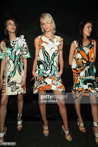 Aline Weber and other models backstage during the Forum show at Sao Paulo Fashion Week Spring Summer 2014/2015 at Parque Candido Portinari on April 3...