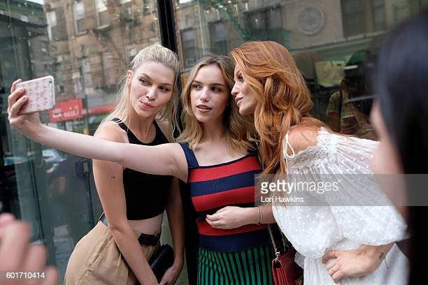 Aline Weber Martina Ritter and Model and creator Cintia Dicker attends the Dicker Swimwear popup shop launch at the Maria Bonita Salon on September 9...