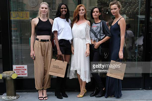 Aline Weber Ubah Hassan Model and creator Cintia Dicker Wanessa Milhomen and Tiiu Kuik attend the Dicker Swimwear popup shop launch at the Maria...
