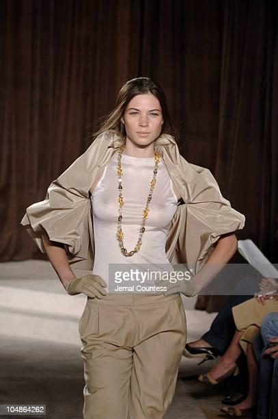 Aline Weber wearing Kai Milla Spring 2006 during Olympus Fashion Week Spring 2006 Kai Milla Runway at Celeste Bartos Forum NY Public Library in New...