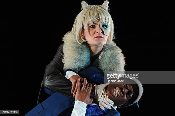 Alinka Kozari and Akiya Henry perform in The Opera Group's production of Varjak Paw at the Linbury Theatre Royal Opera House Covent Garden in London