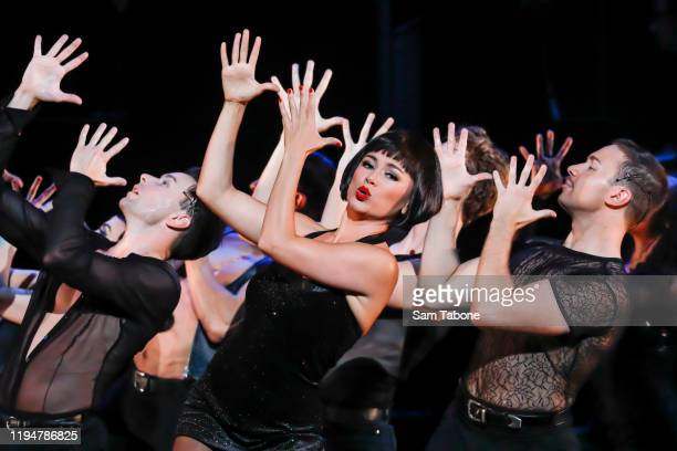 """Alinta Chidzey performs on stage during a """"Chicago The Musical"""" media call on December 19, 2019 in Melbourne, Australia."""