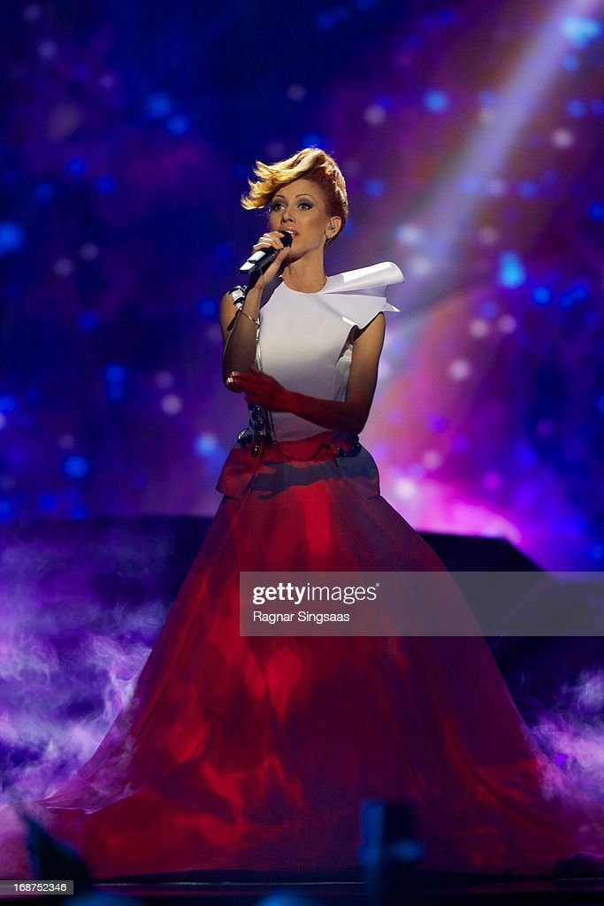 Aliona Moon of Moldova performs on stage during the first semi final of the Eurovision Song Contest 2013 at Malmo Arena on May 14, 2013 in Malmo, Sweden.