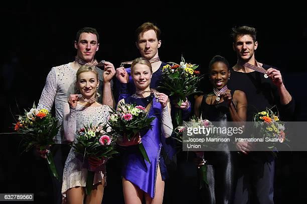 Aliona Savchenko and Bruno Massot of Germany Evgenia Tarasova and Vladimir Morozov of Russia and Vanessa James and Morgan Cipres of France pose with...
