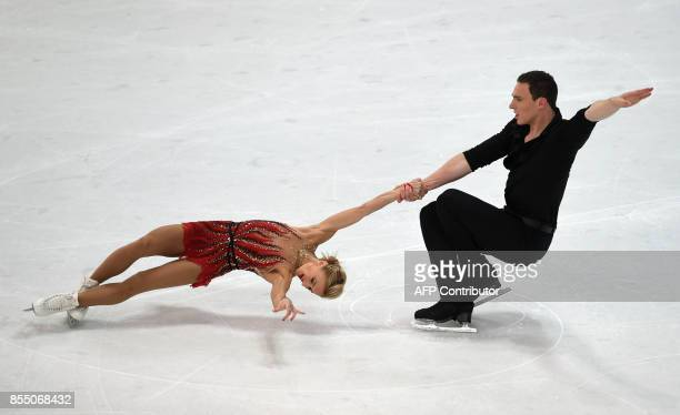 Aliona Savchenko and Bruno Massot of Germany perform during their pairs short program of the 49th Nebelhorn trophy figure skating competition in...