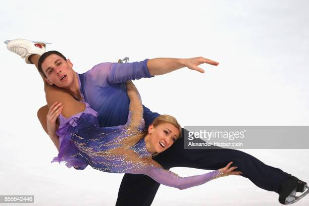 Aliona Savchenko and Bruno Massot of Germany performs at the Pairs free skating during the 49 Nebelhorn Trophy 2017 at Eishalle Oberstdorf on...