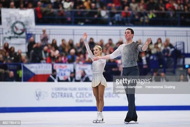 Aliona Savchenko and Bruno Massot of Germany react after competing in the Pairs Free Skating during day 2 of the European Figure Skating...