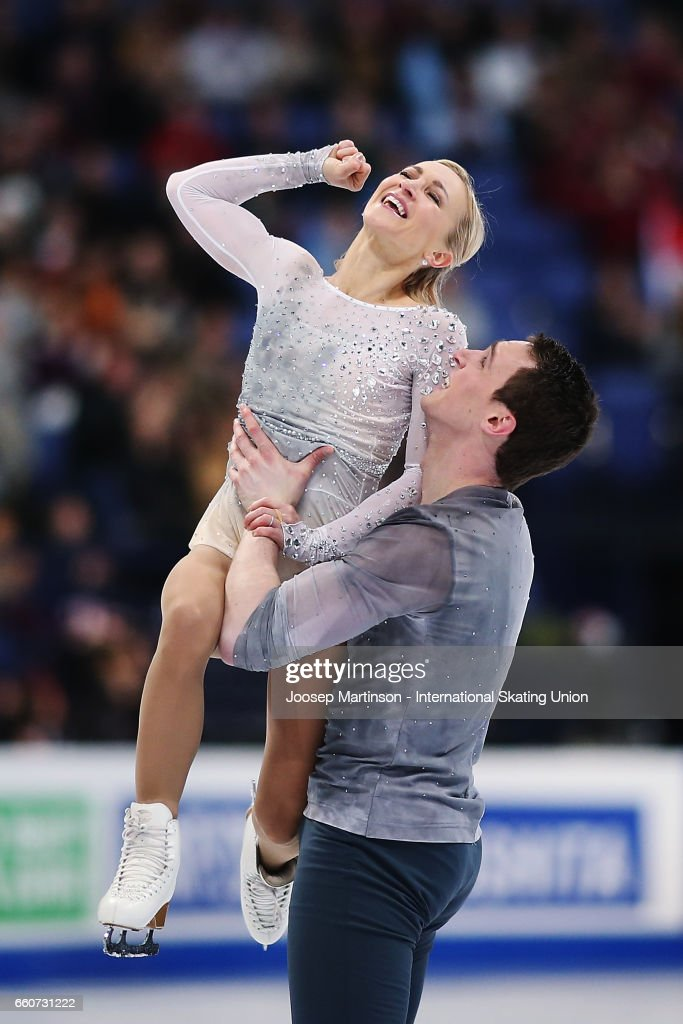 Aliona Savchenko and Bruno Massot of Germany react in the Pairs Free Skating during day two of the World Figure Skating Championships at Hartwall Arena on March 30, 2017 in Helsinki, Finland.