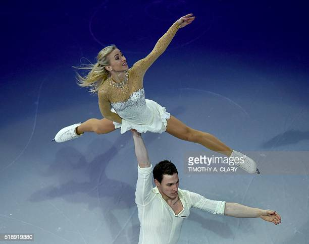 Aliona Savchenko and Bruno Massot of Germany skate during the Exhibition of Champions program at the ISU World Figure Skating Championships at TD...