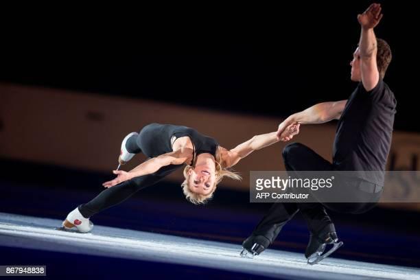 Aliona Savchenko and Bruno Massot of Germany skate their exhibition program at the ISU Grand Prix of Figure Skating's Skate Canada International at...