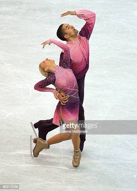 Aliona Savchenko and Robin Szolkowy of Germany are seen in action during their Pairs Free Skateduring the ISU World Figure Skating Championships at...